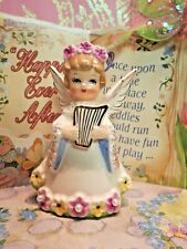 Vtg Christmas Angel W Golden Harp Dark Pink Floral Tiara Halo Pearl Dress