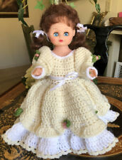 Vintage Antique Hard Plastic Doll 13� Brunette 1950s Crocheted dress eye glass