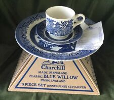Churchill of England Blue Willow China Dinnerware 3 Pc Set Plate Cup Saucer MIB