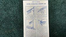 LIONEL # 3376 OPERATING GIRAFFE CAR INSTRUCTIONS PHOTOCOPY