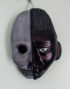 Vintage Clay Skull Face Mask • Jekyll & Hyde Decorative Wall Art Unique Handmade