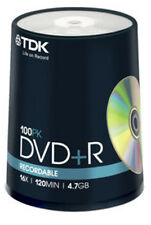 100 Eje TDK DVD + R 4.7GB 120Min discos grabables Disco en Blanco DVDR datos DVD