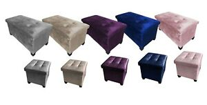 Velvet Folding Storage Ottoman Bench Footrest with Legs/Feet Easy to Assemble