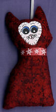 TAMBRA Christmas Dark Red Snowflake Collar CAT Folk Art Original Doll ORNAMENT
