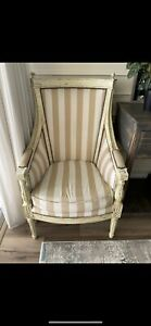 OFF WHITE VINTAGE VICTORIAN STYLE ACCENT ARM CHAIRS