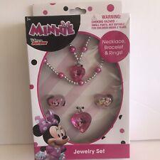 DISNEY Minnie ACCESSORY SET NECKLACE BRACELET & 2 RINGS Box Set NEW