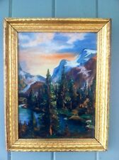 1940's Oil Painting Cabin In Mts. Framed