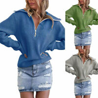 Womens Chunky Knitted Jumper Sweater Zipper Loose Long Sleeve Casual Cardigan
