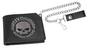 Harley-Davidson Mens Embroidered Willie G Skull Trucker Short Wallet XML6163-BLK