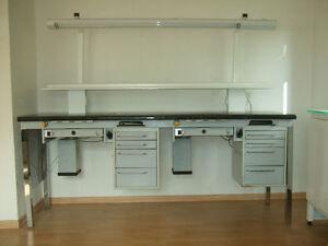 Kavo Doppel-Arbeitsplatz, 2er Arbeitstisch mit Absaugung + neuer Lampe & Ablage