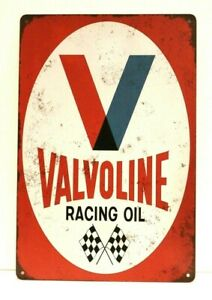 Valvoline Racing Motor Oil Tin Sign Vintage Style Advertisement Man Cave Garage