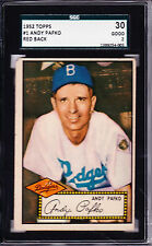 1952 TOPPS #1 ANDY PAFKO - RED BACK - SGC 30 - PSA 2 - NICE EYE APPEAL!! **