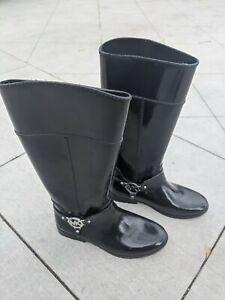 Used Michael Kors Black Rubber Tall Rain Fishing Hunting Boots Women's Size: 9