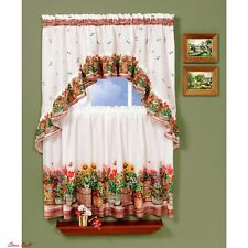 Window Curtains For Girls Small Floral Print Treatment White Decorative Kitchen