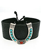 Bracelet,  Western Horseshoe Cowgirl Rodeo Leather Adjustable Drawstring #359-C