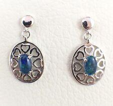 Unique Love Heart Opal Triplet Drop Earrings Sterling Silver w Certificate