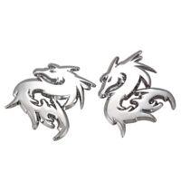 2pcs Car Silver Metal 3D Dragon Emblem Badge Motor Sticker Decal R5H4