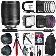 Canon EFS 18-135mm IS USM -Video Kit + LED KIt + Monopad - 32GB Accessory Bundle