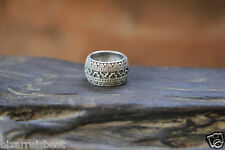 DON BIU Mens Aztec Ring Brushed Solid Sterling Silver Man Wedding