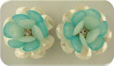 2 Hole Beads Flowers AQUA & Pearl White w/Clear Swarovski Crystal Elements Qty 2