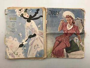 Vintage 1940s French Modeling Fashion Plate Journal Magazine Lot Iris Ringier