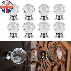 *UK Seller* 1~50X Crystal Diamond 20mm ROUND Door Knob Cupboard Drawer Handle