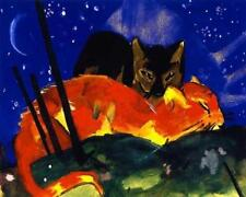 CATS AND STARLIGHT, BY FRANZ MARC, GERMAN EXPRESSIONIST, FRIDGE MAGNET