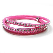 NUOVO Bracciale Neon Rosa con Pietre Swarovski Crystal/cristallino avvolgente
