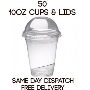 50 x 10oz Smoothie Milkshake sweets Cups & Lids Clear Plastic Domed Cheap Offer