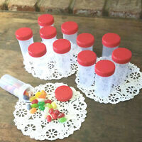 10 Empty Pill Bottles PP Clear Plastic JARS Red Caps Lids Party #3814 DecoJars