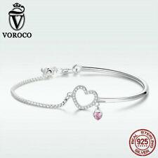 voroco 925 Sterling Silver Heart Bracelet Bangle Charm Zircon Women New Jewelry