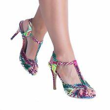 Peep Toes Standard Width (B) Floral Heels for Women