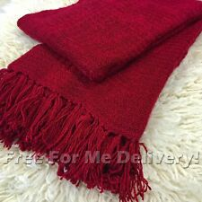 NICKY BURGUNDY RED PLUSH COMFORT SOFT BLANKET THROW (L) 130x180cm *FREE DELIVERY