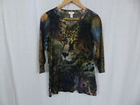 Chico's Women's 3/4 Sleeve CHEETAH Colorful Tee T Shirt Casual Size 1 Medium