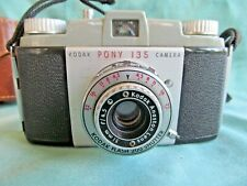 Vintage 1960's Kodak Pony 135 mm Film Camera with Leather Case and Strap