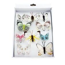 6 Stk Schmetterling WEIDE weiss grau Hochzeit Deko POSTEN Schmetterlinge REBE