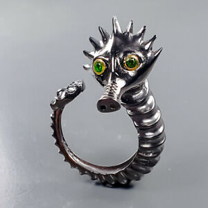 Handmade Sea horse Chrome Diopside Ring Silver 925 Sterling  Size 8.5 /R178315