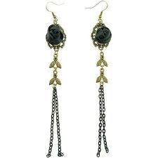 Boucles d'oreilles pendantes femme noires et doré bronze roses en satin gothique