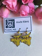 Silvertone Happy Pokemon PIKACHU Yellow Standing Dangle Earrings
