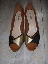 chaussures  escarpins femme pointure 41 ETAM  état correct noir chamois doré