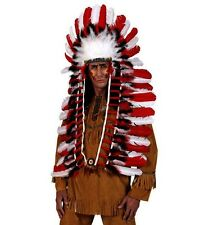 Delux Long Red/White Feather Native American Indian Chief Headdress Fancy Dress