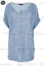 Magliette da donna a manica lunga blu con scollo a v