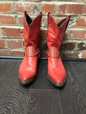 Vintage Red Cowboy Boots Gold Studs Womens