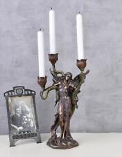 Floraler Kandelaber Anmutige Frauenskulptur Jugendstil Kerzenhalter