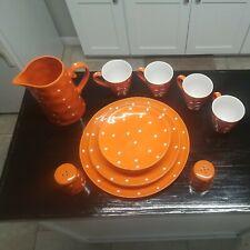 Maxwell Williams Sprinkle Orange Dinner Plates Mug Pitcher Salt&Pepper Shaker