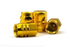 4 x Gold Metal Car Alloy Wheel Tire Valve Covers   Bike Tyre Air Valve Dust Cap