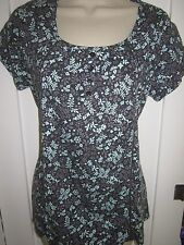 Ladies size 8 TU navy blue with purple turquoise floral summer tunic top