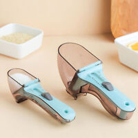 AU_ FT- DI- Kitchen 2Pcs/Set Adjustable Plastic Measuring Spoons with Scale Tool