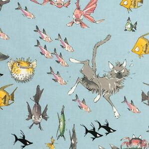 1/2 Yard Alexander Henry The Ghastlies A Ghastlie Dive Lake Blue Cotton Fabric