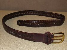 LL BEAN Red Brown Braided Leather Casual Belt Size 34